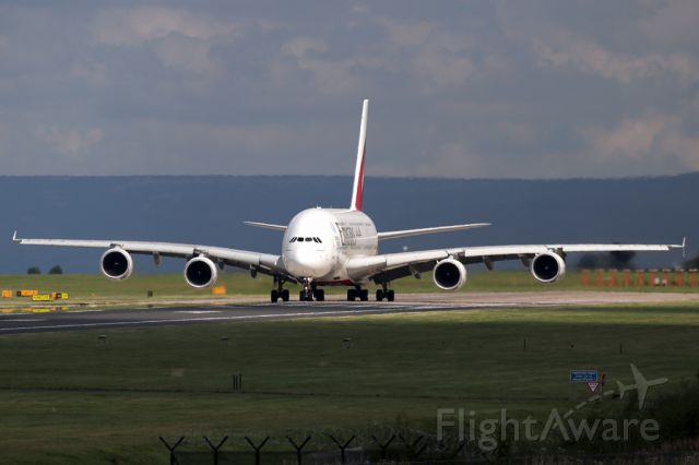 Airbus A380-800 (A6-EDW) - UAE18, the midday flight, awaits clearance to take off.