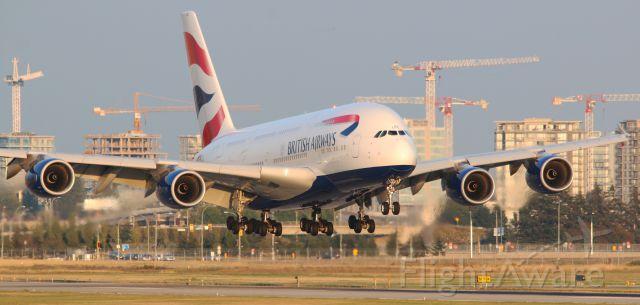 Airbus A380-800 (G-XLEC) - British Airways Speedbird 85 Super Airbus A380-841 G-XLEC evening arrival at YVR 26R from LHR
