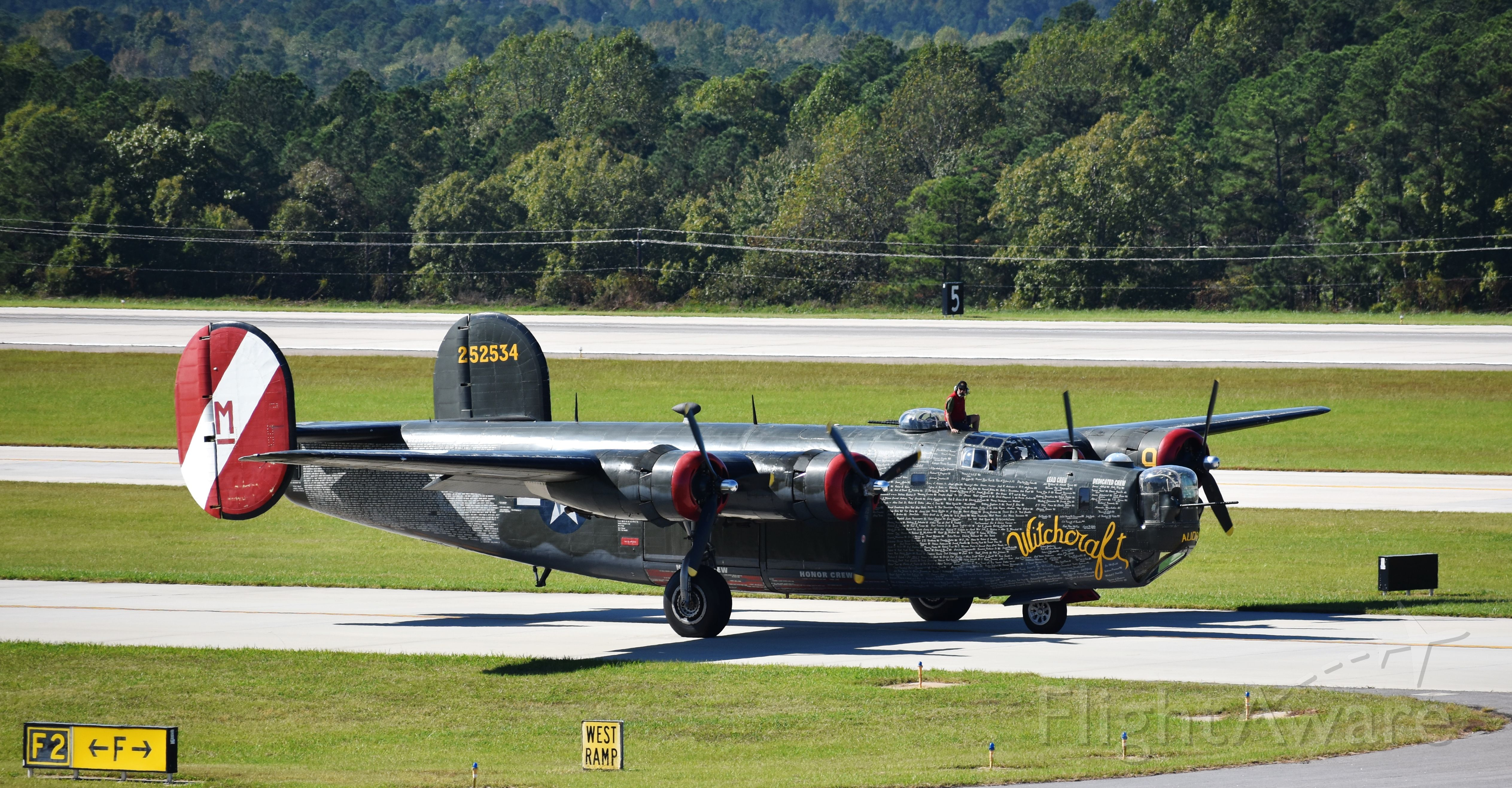 Consolidated B-24 Liberator (N224J) - Witchcraft makes her entrance to RDU on 10/19/17 for a Collings Foundation fly-in.