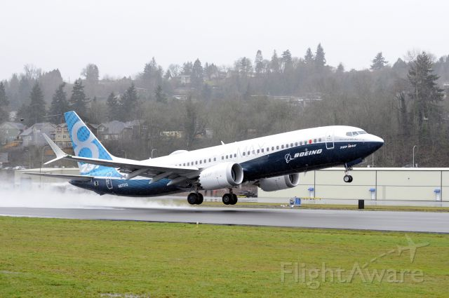 — — - First 737 MAX flight, courtesy of Boeing. Takeoff photo from: Matthew Thompson. Air shot from: Paul Gordon