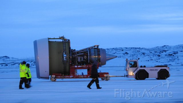 — — - New GE90 engine for Swiss LX40 AOG in Iqaluit gets towed