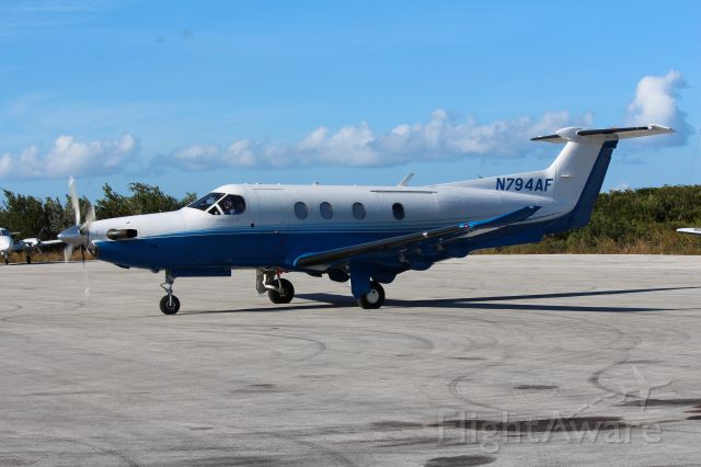 Pilatus PC-12 (N794AF) - Getting ready to taxi out at Stella Maris Long Island Bahamas 12/26/2014.