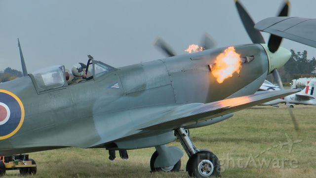 — — - Spitfire PV270. Flight line start at Omaka New Zealand