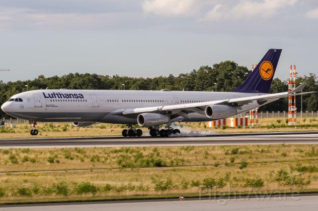 Airbus A340-300 (D-AIGZ) - D-AIGZ Lufthansa Airbus A340-313 coming in from Naking, China (NKG / ZSNJ) @ Frankfurt - Rhein-Main International (FRA / EDDF) / 03.07.2016