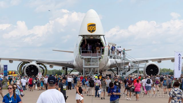 BOEING 747-8 (N616UP) - A UPS 747-8F opens wide as visitors explore the Queen of the Skies. Taken at EAA Airventure 2019.