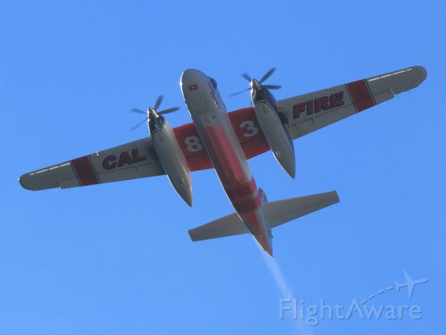 MARSH Turbo Tracker (N437DF) - Cal Fires Grumman S-2T Tanker 83... After retardant drop on the June Fire, June Lake CA. 9-17-14