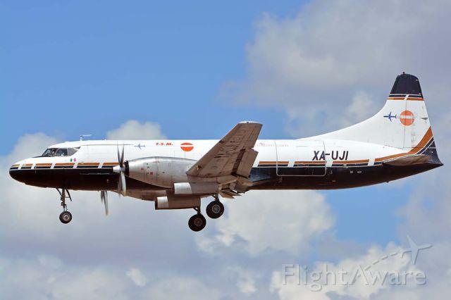 CONVAIR CV-580 (XA-UJI) - Aeronaves TSM Convair 640F XA-UJI arriving at Sky Harbor on September 10, 2019.