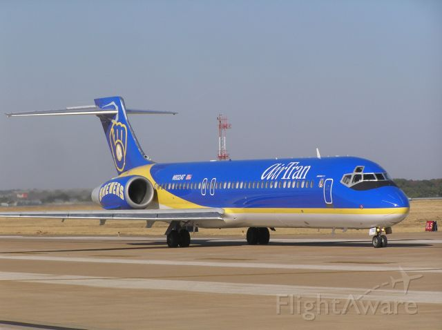 """N932AT — - Special paintscheme """"Brewers"""" on this AirTran B-717 taxiing for takeoff at MEM"""