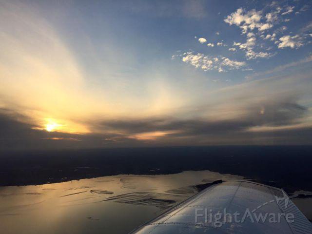 Piper Cherokee (N724CA) - Over Duxbury Beach during sunset