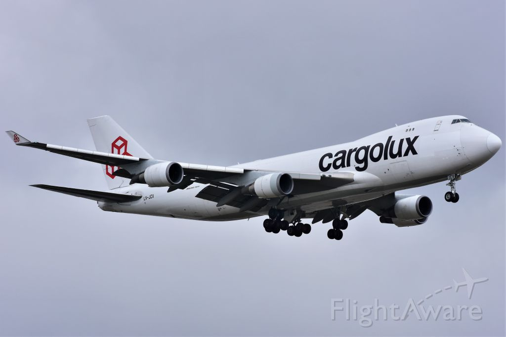 Boeing 747-400 (LX-JCV) - Cargolux Airlines Boeing 747-4EVF(ER) arriving at YYC on May 8.