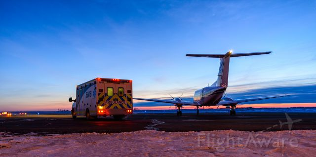 Beechcraft Super King Air 200 (BXH151) - Medevac trip in Provost Alberta. Beautiful sunset. Funny thing, we landed with a clear sky, and took off 15 minutes later with a broken layer of cloud.