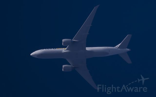 D-AALF — - 18-4-2015. Aerologic Cargo Boeing 777F passes overhead West Lancashire, England,UK at 30,000ft working route FRA-ORD (BOX410).<br />Pentax K-5