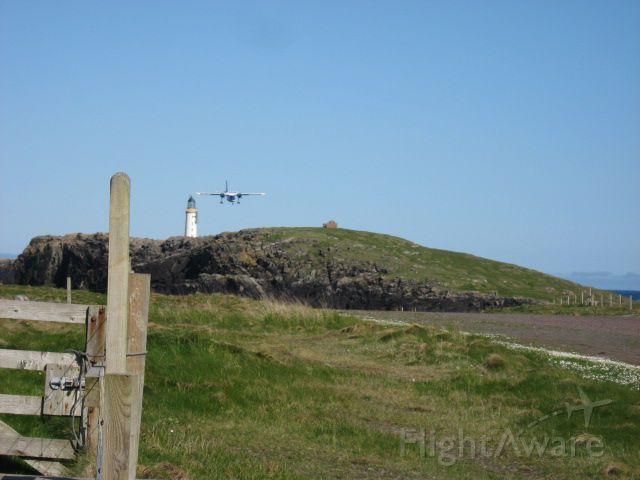 G-SICB — - BN Islander approaching Out Skerries in Shetland UK. Runway is gravel 1246 ft (380m). Remote is;and 67 inhabitants. 4 flights weekly!