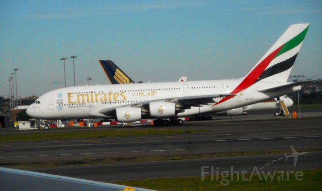 Airbus A380-800 (A6-EEK) - Taken from inside a Qantas 767 as we taxied into Sydney