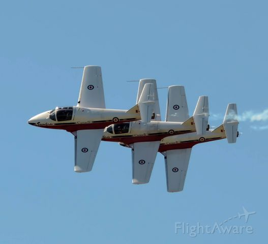 Canadair CL-41 Tutor (11-4096) - 3 plane standard formation flyby by the Snowbirds at the Gatineau Airshow. (They where not photo edited in)