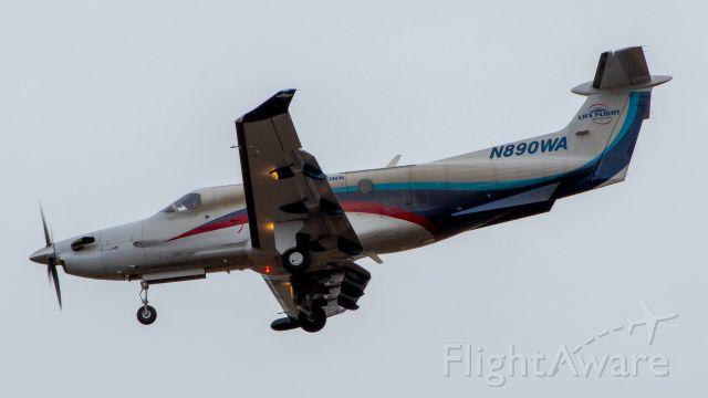 Pilatus PC-12 (N890WA) - Life Flight PC-12 on final for MWH
