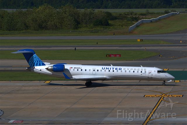 N502GJ — - United Express from EWR arrived at CLT