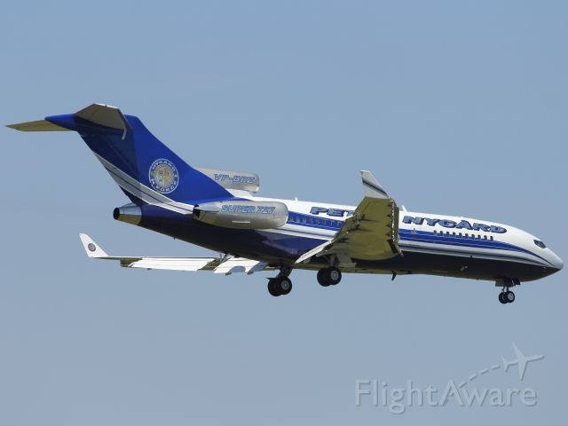 Boeing 727-100 (VP-BPZ) - A B727-100 Classic Super Jet with winglets, approaches London Stantead Airport.