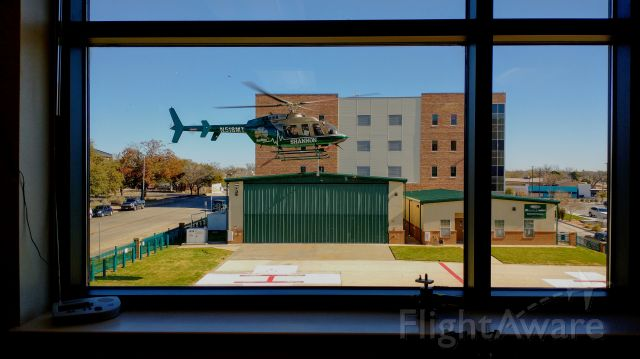 Bell 407 (N518MT) - AIR MED 1 leaving the pad at Shannon Downtown, San Angelo, Texas