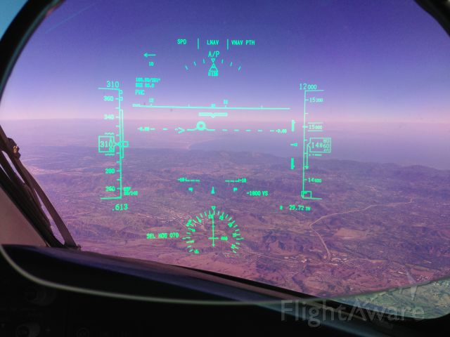 Boeing 787-8 (N27905) - View through the HUD while descending toward KLAX on the return from ZSPD (Shanghai).