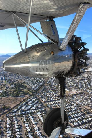 NC9645 — - Left engine of EAA's Ford Trimotor flying over Tucson, AZ