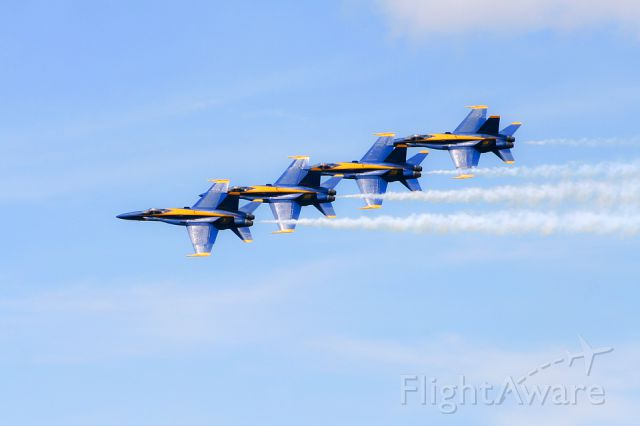McDonnell Douglas FA-18 Hornet — - USN Blue Angels perform at the Marine Corps Air Station (BFT) in Beaufort, South Carolina