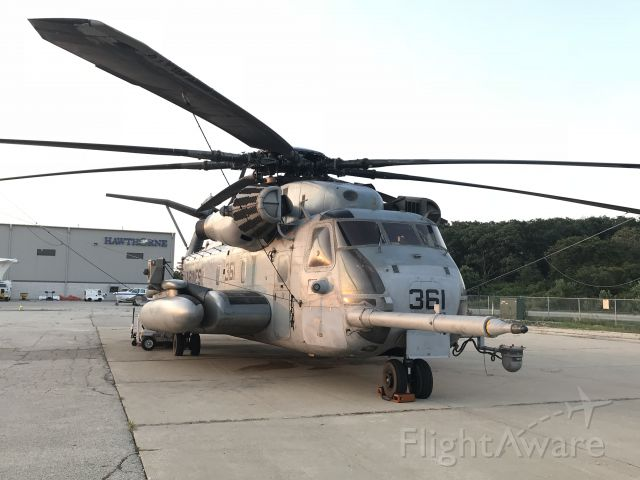 — — - US Marine Corps Sikorsky CH-53E Super Stallion on display at Hawthorne Global Aviation Services.