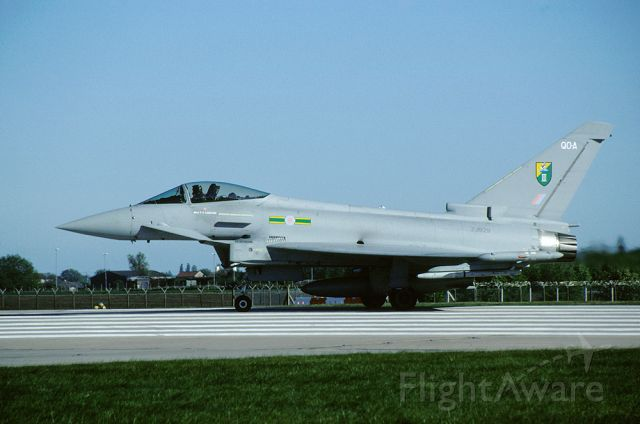 ZJ929 — - RAF, no 3 sqn, Typhoon F2 ZJ929 is awaiting the take off clearance on the runway of RAF Coninngsby