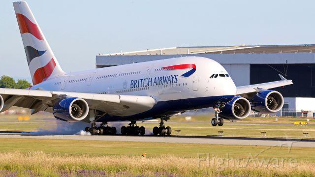 Airbus A380-800 (G-XLEE) - British Airways Speedbird 5VY Super touchdown at YVR on arrival from LHR