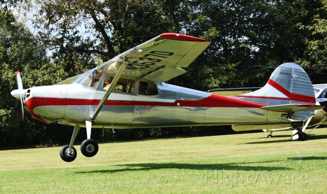 Cessna 170 (N3537D) - A beautiful 1956 Cessna 170 at the Miller Air Park fly-in back on 9/22/18.  Love the slight incline in the field where it looks like they're launching off...