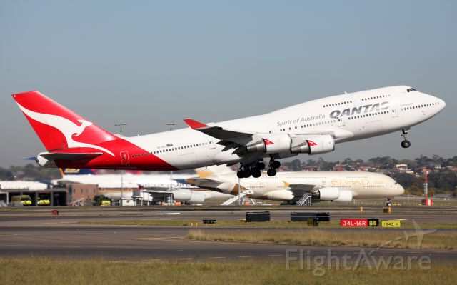Boeing 747-400 (VH-OEI) - Lifting Off From Rwy 34L