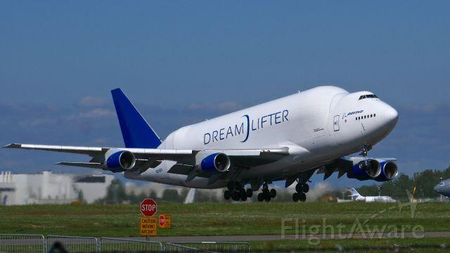 Boeing Dreamlifter (N249BA) - GTI4532 on rotation from Rwy 16R to begin a flight to KCHS on 5.7.18. (ln 766 / cn 24309).