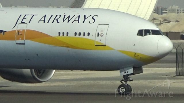 BOEING 777-300 (A6-JAB) - Taxiing to its gate after arriving from San Francisco at Abu Dhabi. This is a leased Jet Airways aircraft.