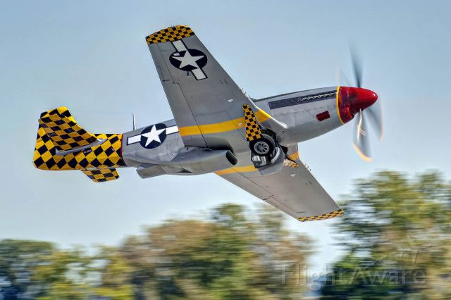 """North American P-51 Mustang (N51MV) - P-51 """"Luscious Lisa""""; banks and climbs after taking off."""