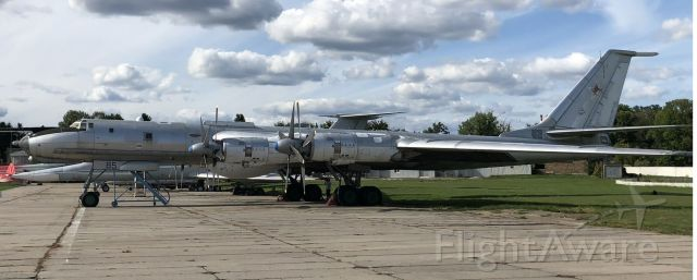 """Tupolev Tu-142 — - The Tu-142 was designed by the Tupolev design bureau, and manufactured by the Kuibyshev Aviation and Taganrog Machinery Plants from 1968 to 1994. Formerly operated by the Soviet Navy and Ukrainian Air Force, the Tu-142 currently serves with the Russian Navy. This famous """"Bear"""" is on display at the Oleg Antonov State Aviation Museum. Kiev-Ukraine, Aug 2019."""