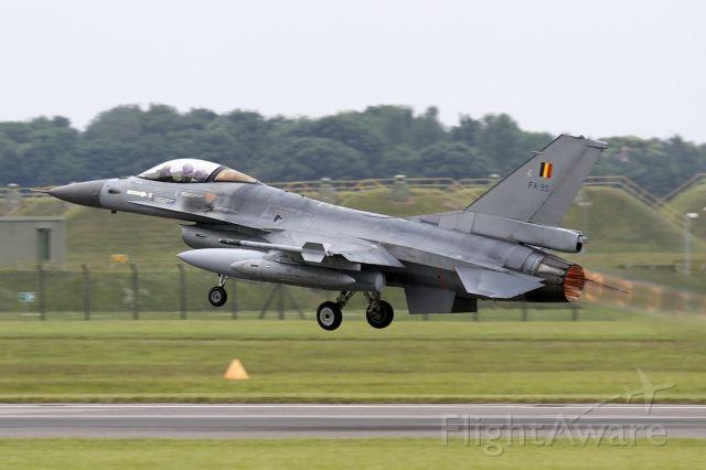 Lockheed F-16 Fighting Falcon (SFR95) - Belgium Air Force General Dynamics [SABCA] F-16AM Fighting Falcon [401] FA-95 [cn.6H-95]. Fast departure from RAF Waddington England 8.7.2013.