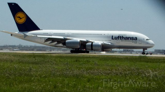 Airbus A380-800 (D-AIMB) - Taken during its inaugural flight from FRA-IAH on Aug 1, 2012.