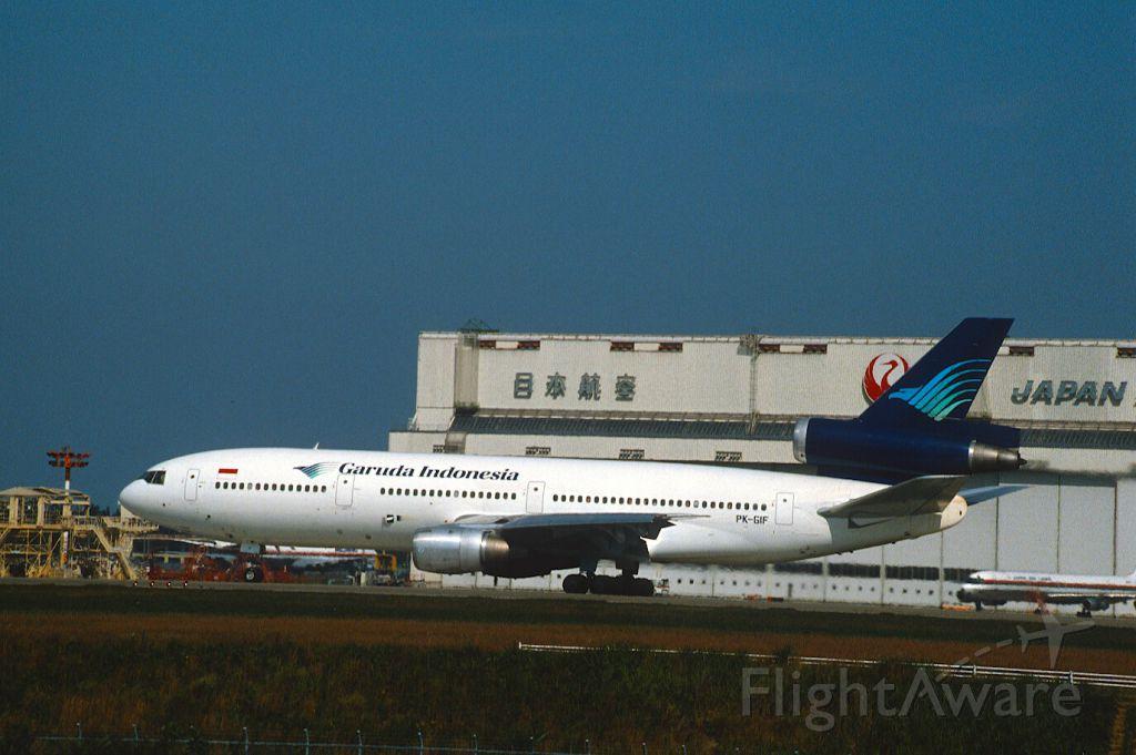 McDonnell Douglas DC-10 (PK-GIF) - Departure at Narita Intl Airport Rwy34 on 1986/10/18