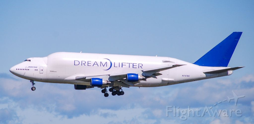 Boeing 747-400 (N747BC) - Making its first ever stop at GSP, the 747 Dream)Lifter about to touch down.  Arriving from Anchorage carrying medical supplies.  A very impressive sight to see! 4/26/20.