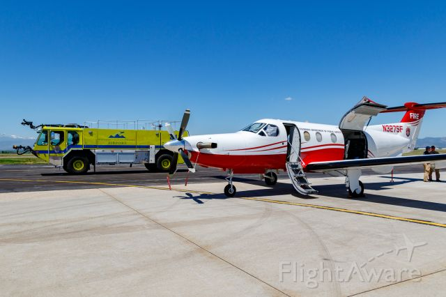 Pilatus PC-12 (N327SF) - Wildfire Air Tanker Demonstration and Display at KFNL.