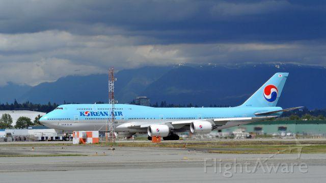 BOEING 747-8 (HL7636) - Rudder input as KAL72 initiates takeoff roll in crosswind