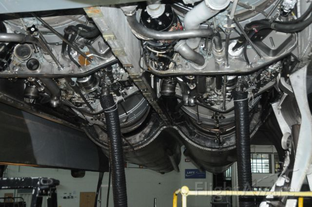 G-VLCN — - Number 1&2 Engines of the Only remaining flying Vulcan, rated at 16,500 Lbs Thrust each ( 26,000 HP )The covers are off and the tail pipe tube of number 2 engine has been removed for inspection