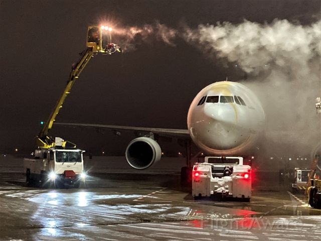"""Airbus A300F4-600 (N651FE) - FedEx Airbus  """"Whitney"""" is getting the deicing treatment after her arrival from Fargo ND FDX Flight 325."""