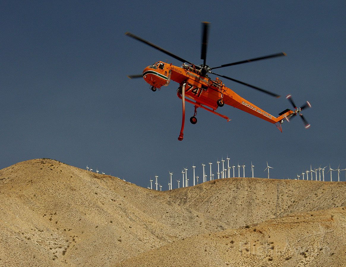 N6962R — - S-64E on approach to dipping station during wildfire suppression.
