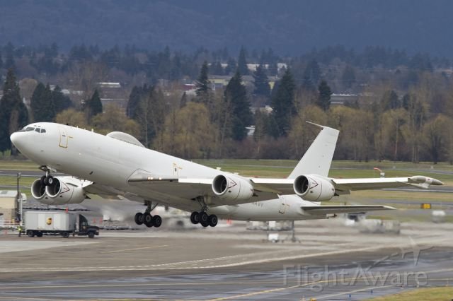 16-3918 — - Eden 52 Heavy United States Navy Boeing E-6B Mercury departing Portland International Airport for Tinker Air Force Base