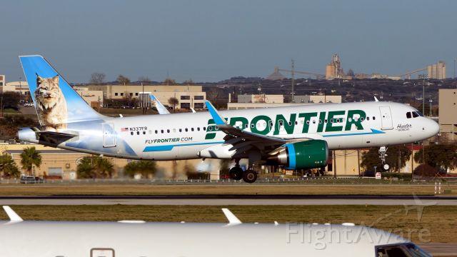 Airbus A320neo (N337FR) - 13R arrival.