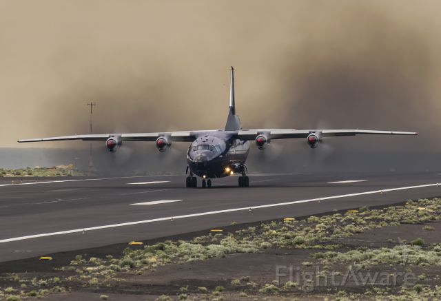 Antonov An-12 (UR-CGV) - Very rare visit of an Antonov An-12 to La Palma, with a smokey take-off!