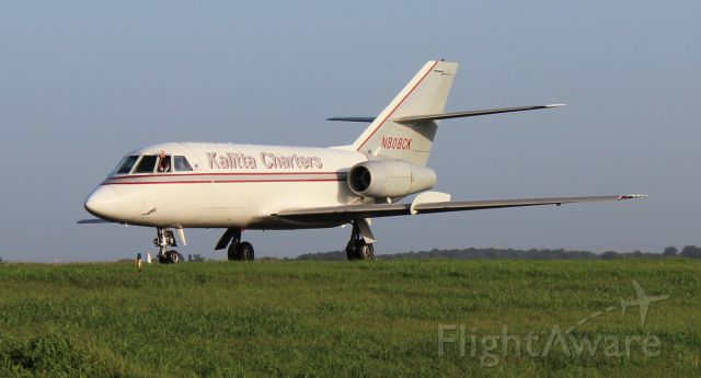Dassault Falcon 20 (N808CK) - A 1967 model Dassault / SUD Fan Jet Falcon taxiing at Pryor Regional Airport, Decatur, AL - late in the afternoon of September 4, 2020.