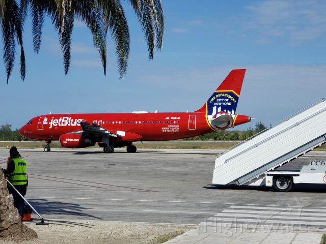 Airbus A320 (N615JB) - I was standing at the gate of the Holguin, Cuba airport on April 2nd, 2019.  This is best tribute, and one of <br />the coolest paint jobs and I have ever seen on an aircraft.