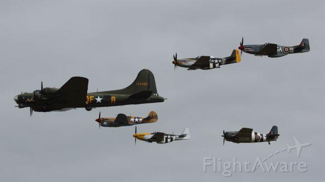 — — - VE Day Anniversary Air Show Duxford 23 May 2015. B-17 (Sally B) 2 P-51Ds, TF-51D, Curtiss P-40F Warhawk and a Grumman FM-2 Wildcat